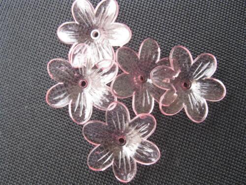 """5 Acrylique-perle /""""FLEUR/"""" rose pâle clair 26mm 10820"""