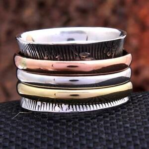 Solid-925-Sterling-Silver-Spinner-Ring-Meditation-Statement-Ring-Size-M460