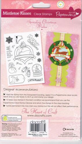 Papermania Merry Christmas clear 18 stamp set Mistletoe kisses reindeer snowman
