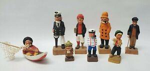 8 Vintage Hand Carved Wooden Fisherman Captain Sailor Nautical Figures Folk Art