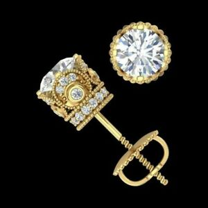 4Ct-Round-Moissanite-Screw-Back-Solitaire-Stud-Earrings-14K-Yellow-Gold-Finish