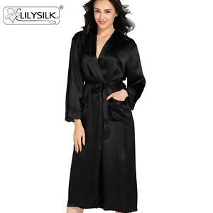 84454129f6 Lacey Cuff Silk Robe for Women 22 Momme 100% Mulberry Silk Bathrobe ...
