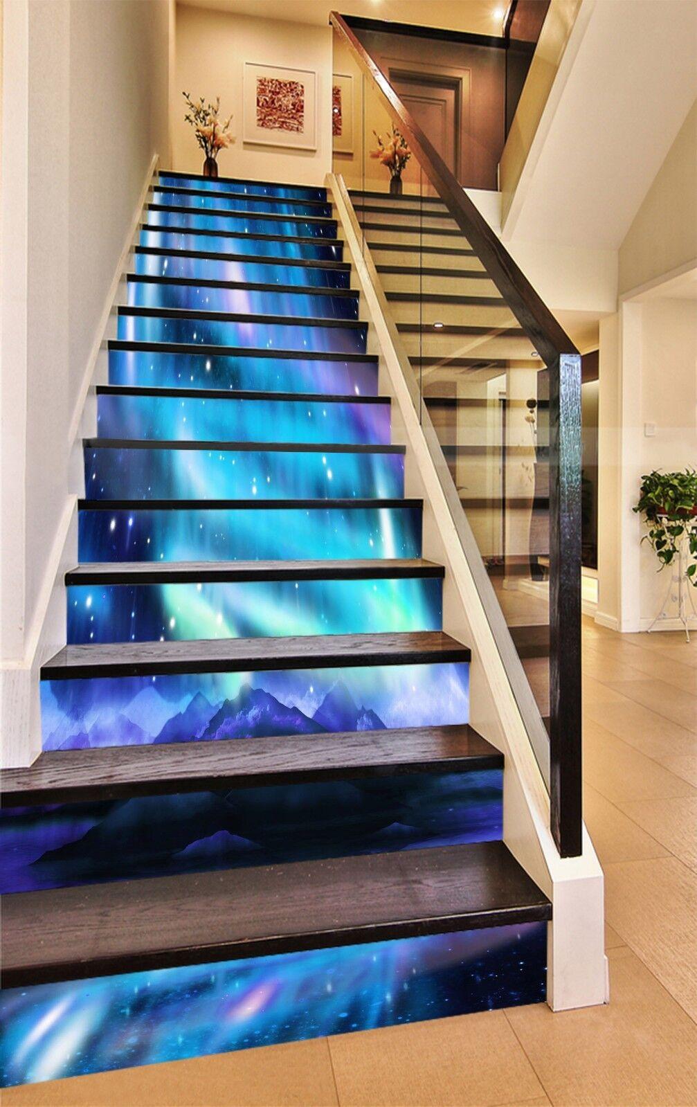 3D bluee Beam 52 Stair Risers Decoration Photo Mural Vinyl Decal Wallpaper UK