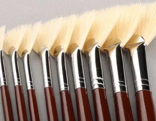 XDT#646 Fan Artist Paint Brush 9Pc Set Pure Hog Bristle Oil Acrylic Watercolor