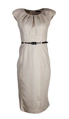 Collection London Ladies Cream Striped Ruched Neck Smart Office Dress 12 16 18