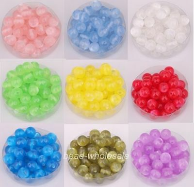 100pcs 8mm Rondes Acrylique oeil de chat Perles Intercalaire Beads 9 couleurs