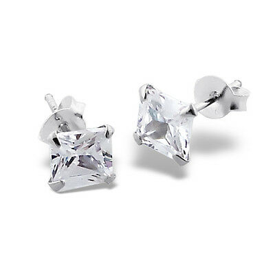 Sterling Silver 7mm Princess Cut Simulated Diamond Square Studs Earrings 925 NEW