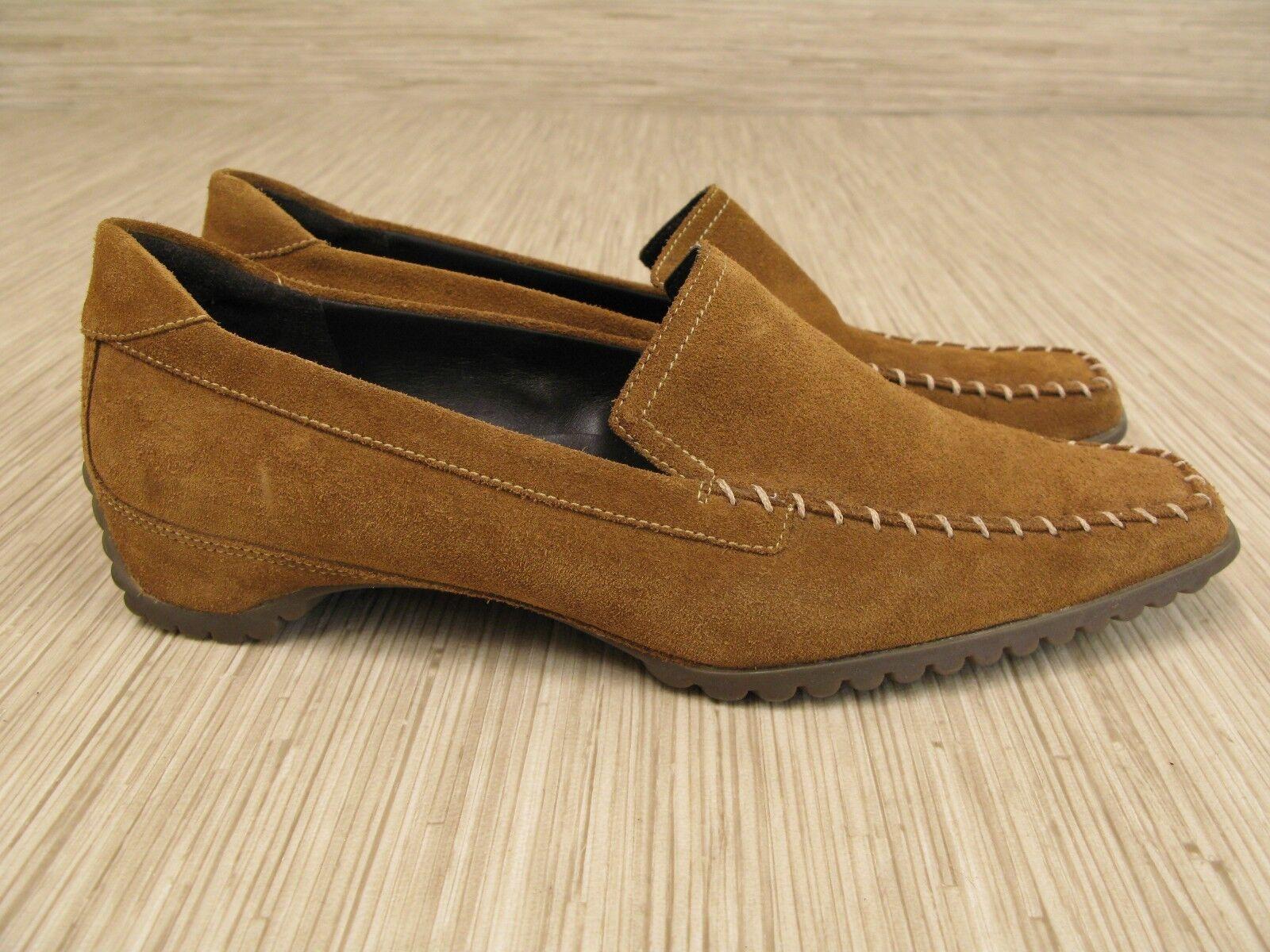 Ecco marrone Suede Loafers Donna Taglia US 9-10 EUR 40 Casual Scarpe Heels Slip-On