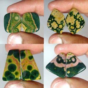 Natural-Ocean-Jasper-Pair-Fancy-Cushion-Cabochon-Loose-Gemstone-Collection