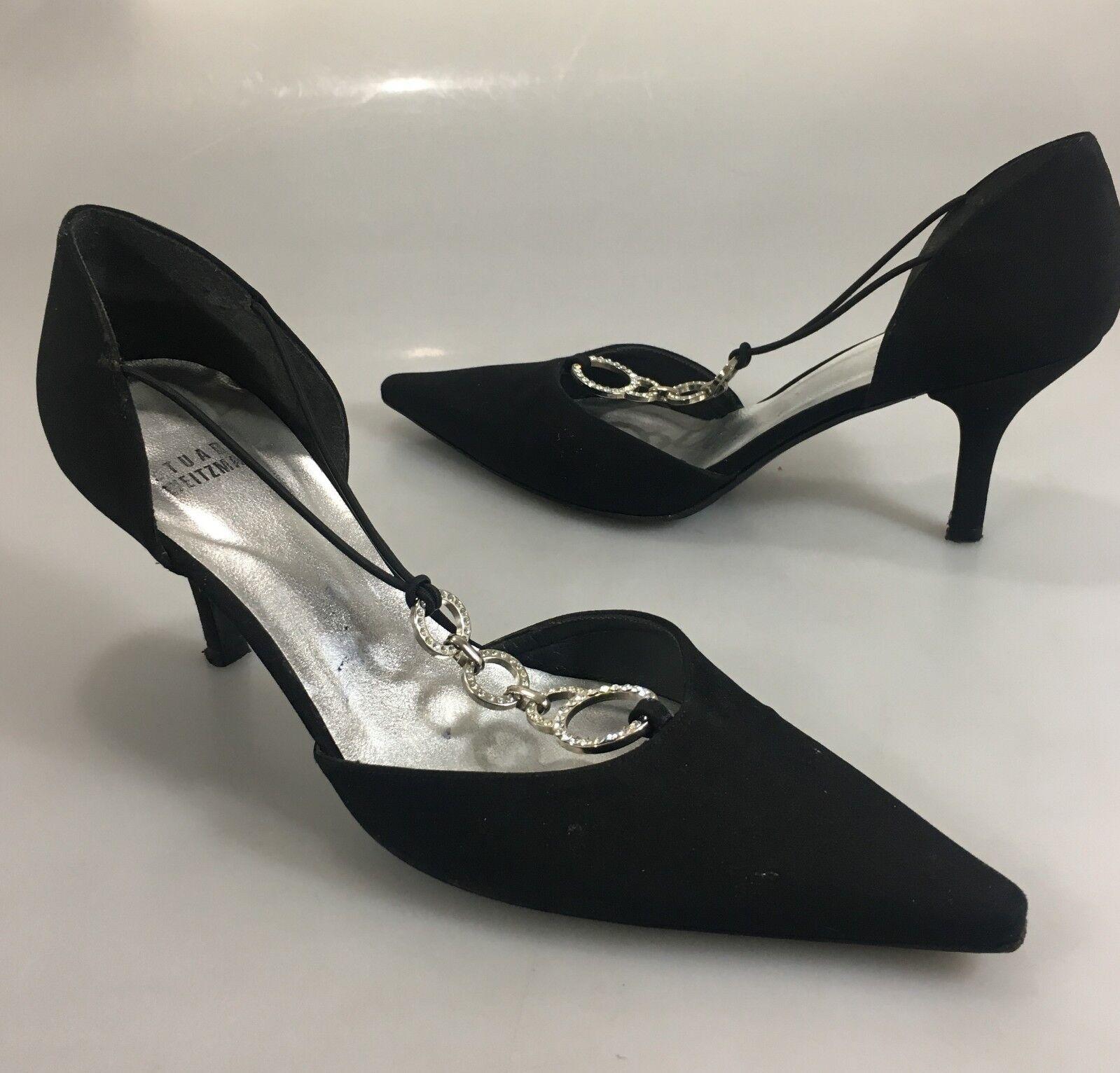 Stuart Weitzman Womens 7 Black Fabric Clear Crystal Circles 3  Heels Pumps shoes