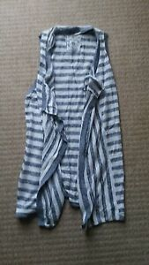 Fat Face White and Grey Striped Sleeveless Cardigan. Size S