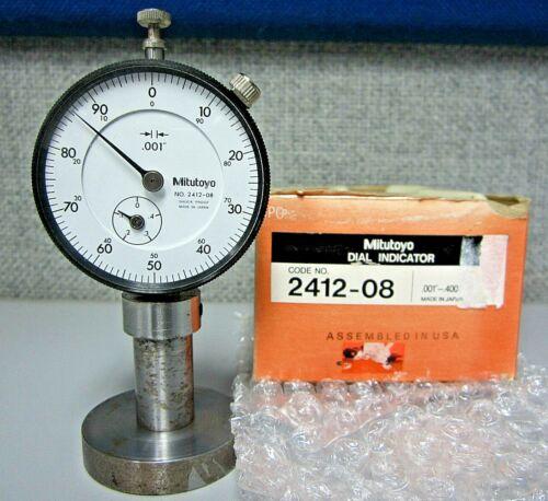 "0.001/""-0.400/"" Mitutoyo 2412-08 Shock Proof Dial Indicator"