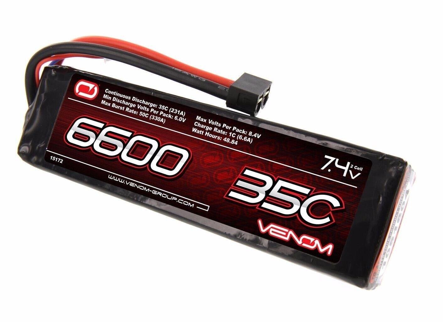 Venom 15172 LIPO 2S 7.4V 6600mAh 35C LIPO BATTERY TRX DEANS EC3 TAMIYA CONNECTER
