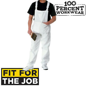 Professional-White-Painters-Decorators-Bib-Brace-Overalls-Dungarees-Coveralls
