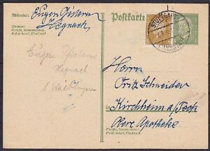 DR-P-180-I-Ganzsache-mit-ZuF-gel-Stuttgart-Kirchheim-1929-GA-Dt-Reich