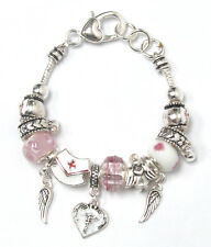 European Style Nurse Theme Adjustable Silver Plated Charm Bracelet