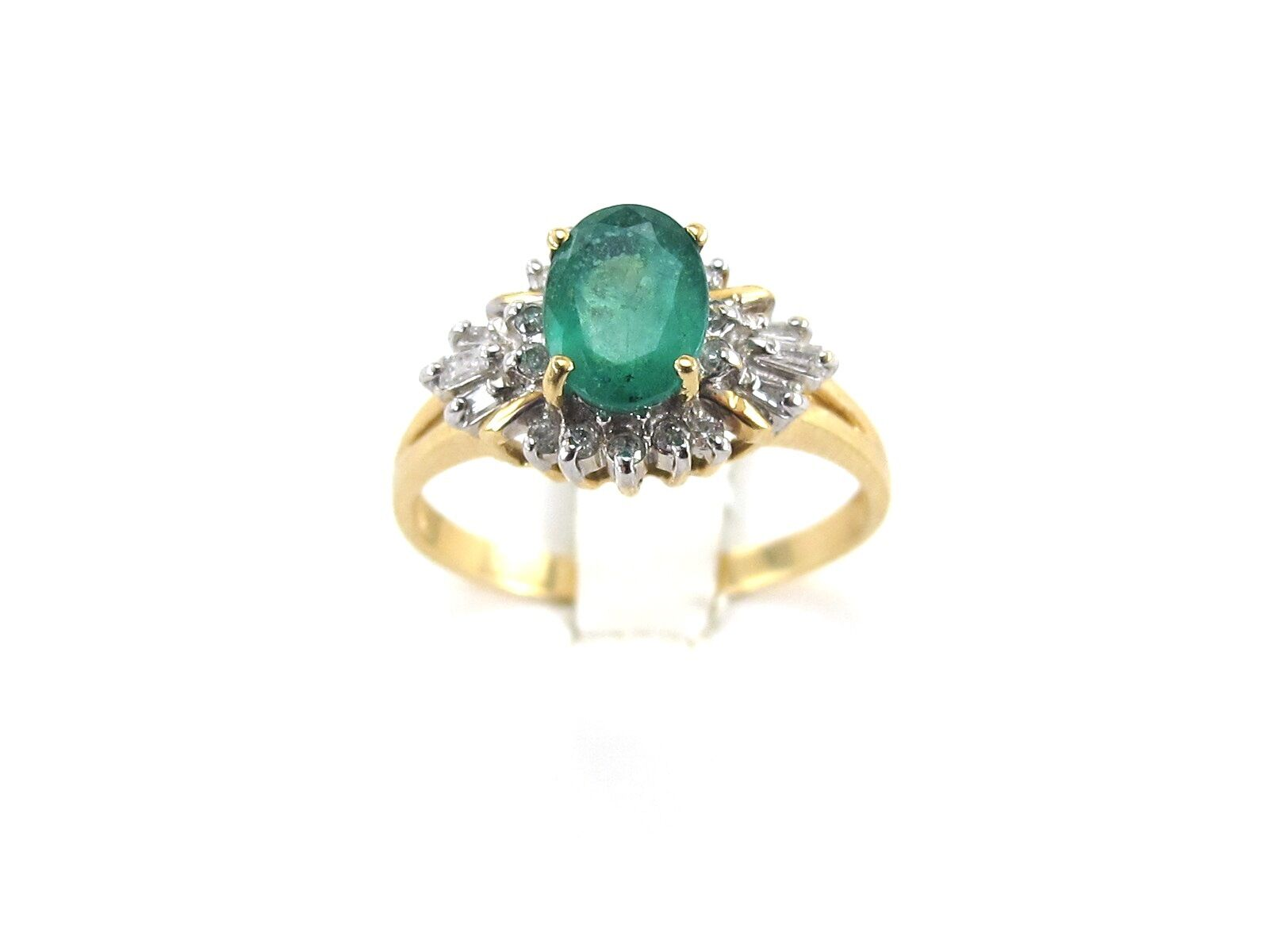 14k Yellow gold Diamond And Emerald Ring Size 10
