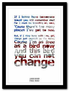 lynyrd skynyrd free bird song lyric poster typography art print 4 sizes ebay. Black Bedroom Furniture Sets. Home Design Ideas