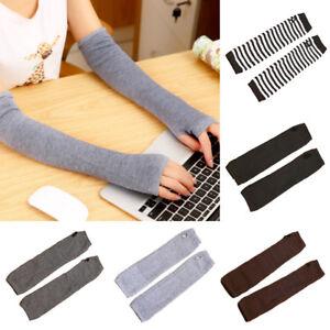 Women Warmer Mitten Winter Long Knitted Wrist Arm Hand Warmer Fingerless Gloves