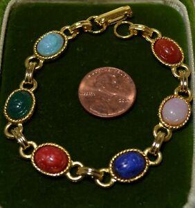 Vntg-Scarabee-Coleoptere-Lien-Rose-Vert-Bleu-Cab-or-Ton-7-034-Bracelet-7N-33