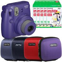 Fuji Instax Mini 8 Instant Film Camera Grape + 50 Shots + Fitted Camera Case