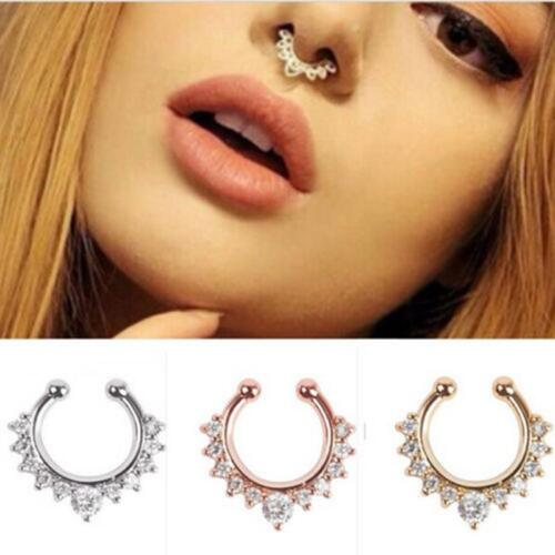1 pc Fashion Fake Clip On Non Piercing Crystal Septum Nose Ring Faux Clicke BSCA