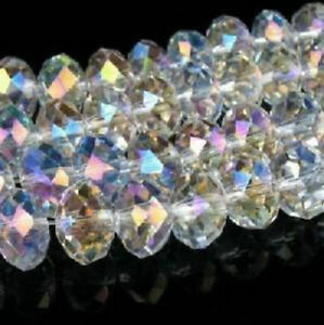 Wholesale Green AB Crystal Faceted Abacus Loose Bead 6*8mm 70pcs