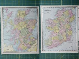 image is loading scotland ireland vintage original 1895 crams world atlas