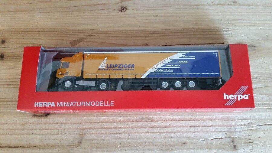 Herpa 307444 - 1 1 1 87 Scania R Highline Gardinenplanen-Sz - Leipziger Logistik 43c009