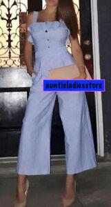 20c95a8afbae Das Bild wird geladen Zara-White-Navy-Striped-Jumpsuit-With-Ruffles-Size-