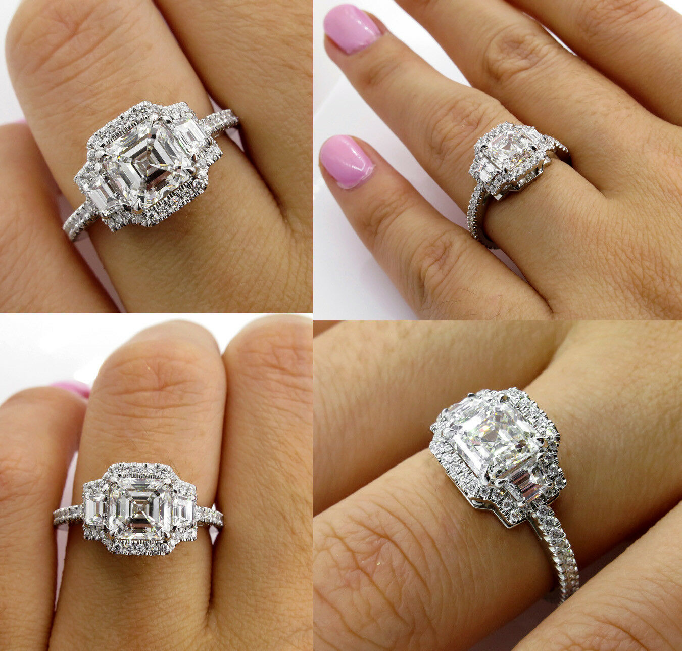 80693b9e3669f 5Ct Asscher Trilogy Halo Engagement Ring 14K White gold Finish ...