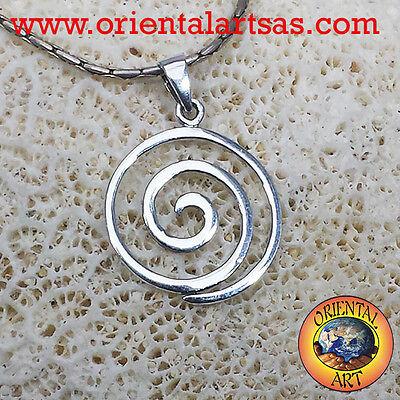 ciondolo  in argento  925 Koru spirale dentata simbolo Maori
