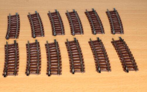Neuware 12 Stück gebogenes Gleisstück R222 15° - Spur N - 12x Arnold 1440