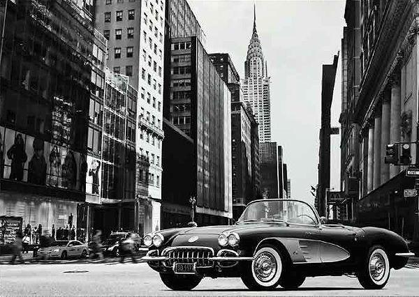 Gasoline Images  Roadster in NYC Keilrahmen-Bild Corvette C1 New York Oldtimer