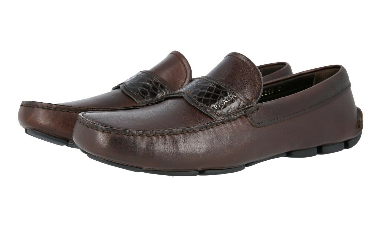 LUXUS PRADA BUSINESS LOAFER SCHUHE 2DD141 brown LEDER + KROKO N