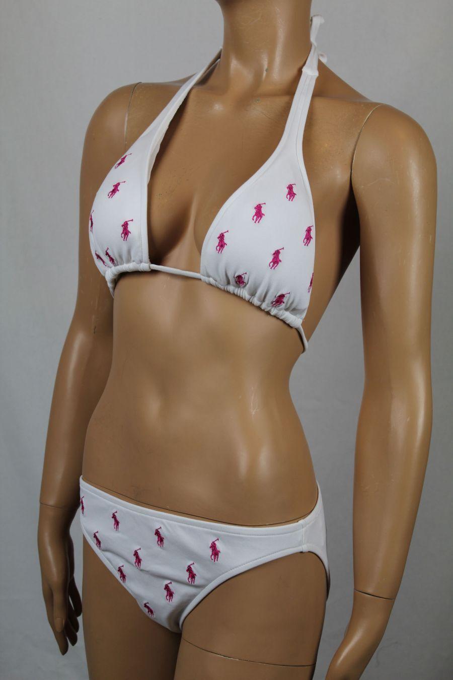 Ralph Lauren Small S White Bikini Multi Pink Pony Logo NWT