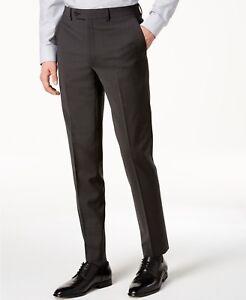 aa00377ff $165 CALVIN KLEIN Men's Gray Wool Slim-Fit FLAT FRONT PANTS TROUSERS ...