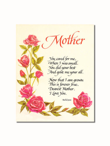 Mother I Love you Poem Roses #2 Wall Picture 8x10 Art Print