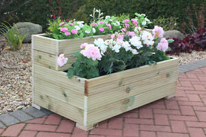 Large-Wooden-Garden-Step-Planter-Trough-Two-Tier-Veg-Bed-FREE-LINING-amp-FREE-GIFT