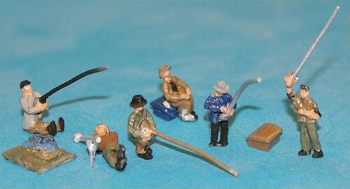 6 Riverside Fisherman PAINTED N Gauge Scale A126p Langley People Figures 1//148