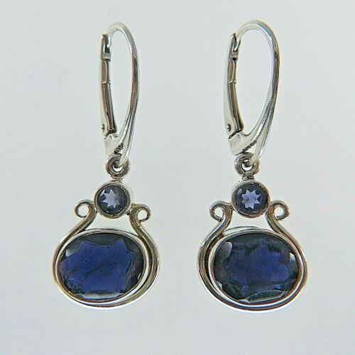 Genuine Natural Blue IOLITE Drop Oval Earrings 925 STERLING SILVER Leverback #8
