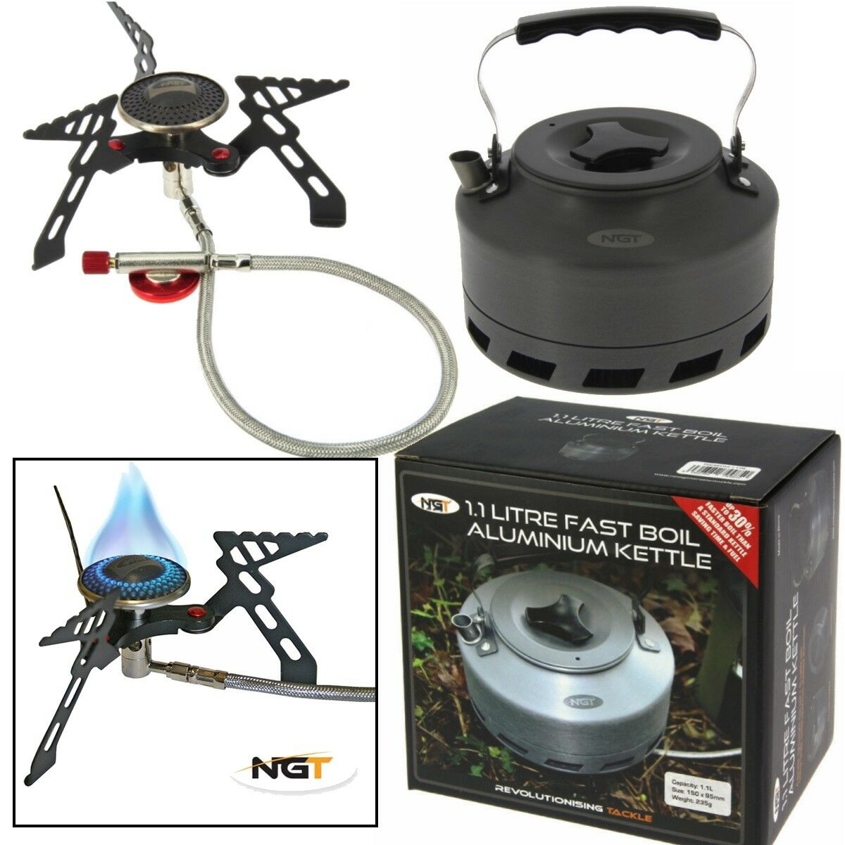 NGT Fast Boil Kettle and Gas Fishing Stove 3000w Portable Camping Cooker