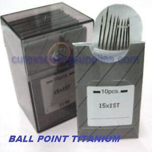 100 15X1ST Titanium Ball Point Flat Shank Embroidery Needle (Same as 130/705H-E)