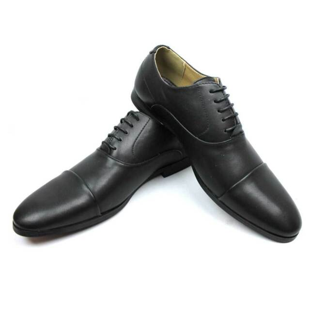 New Men's Solid Black Cap Toe Lace Up Dress Shoes Oxfords Modern By AZAR MAN NEW
