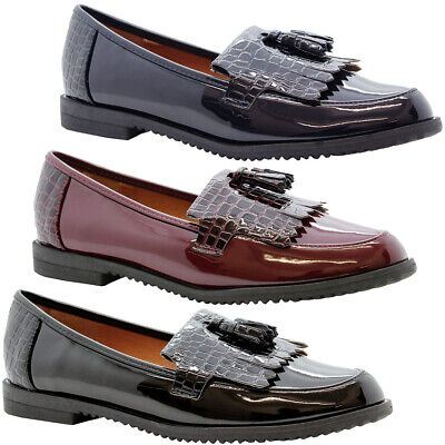 Womens Croc Ladies Loafers Brogue Slip On Flats Work Office School Shoes Size