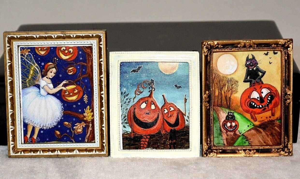 Dollhouse Miniature Halloween Pictures Framed 1:12 Set Of 3