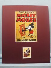 """Walt Disney - Mickey Mouse in """"Steamboat Willie"""" honored by his own Stamp"""