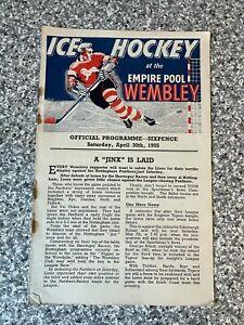 Wembley Empire Pool - Wembley Lions - Ice Hockey Programme 30/04/1955