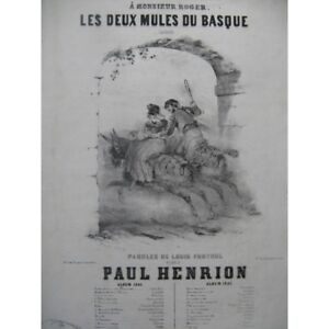 HENRION-Paul-Ambos-mulas-de-la-Vasca-Chant-Piano-1846-partitura-sheet-music-sco