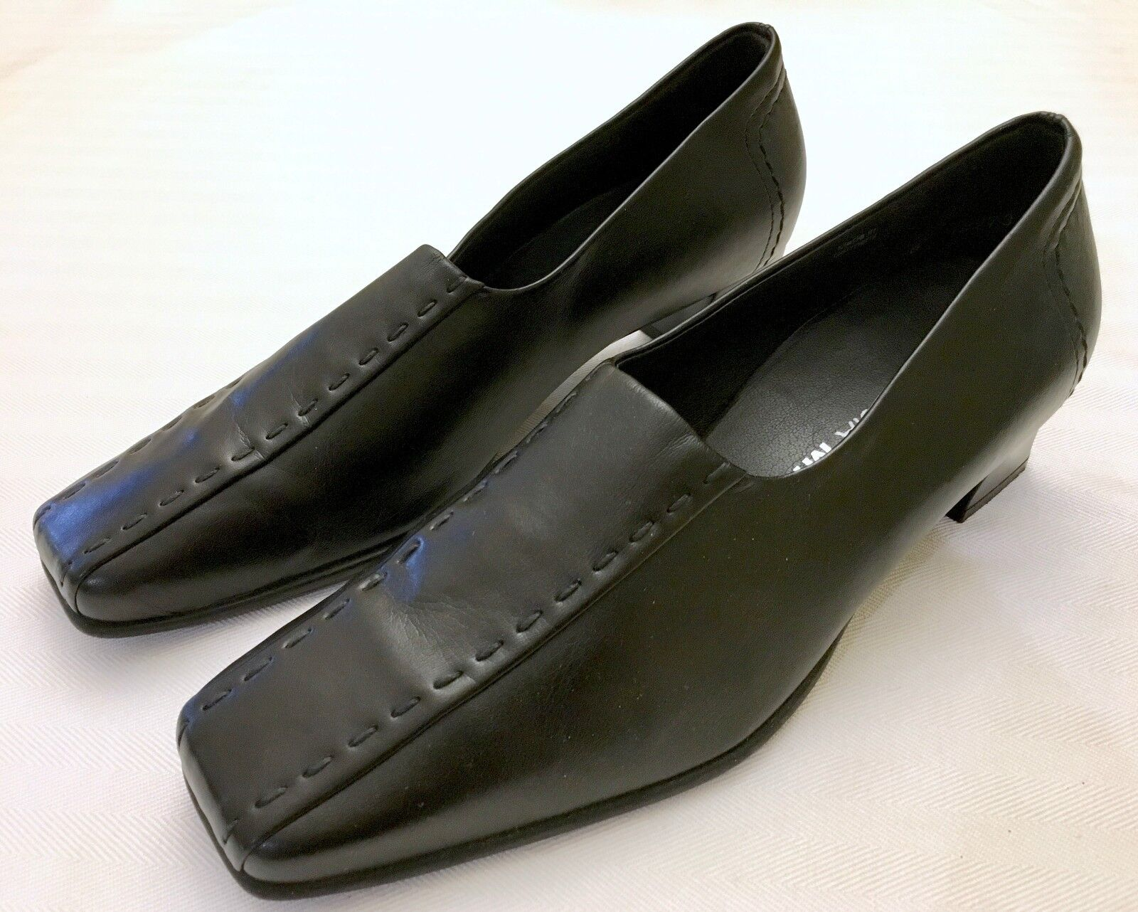 Theresia M. Lea Black Leather Stitch Detail Square Toe Heels Size US 8